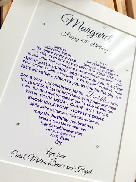 60th Birthday Gift -  Personalised poem print