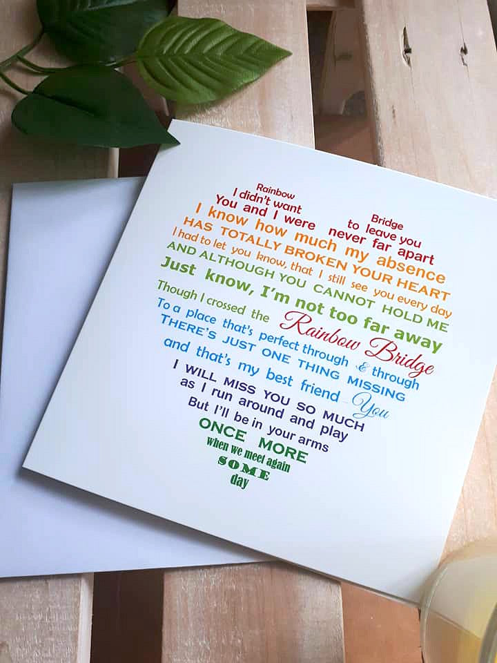 Pet loss Card - Rainbow Bridge Greeting Card
