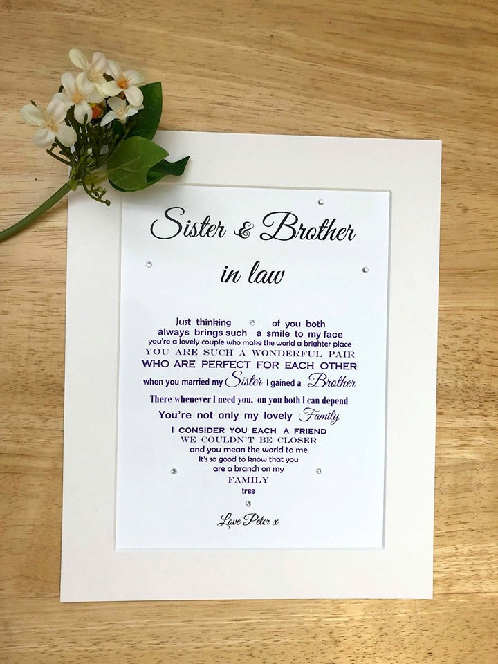 Sister & Brother in Law Gift -  Personalised print (10x8)