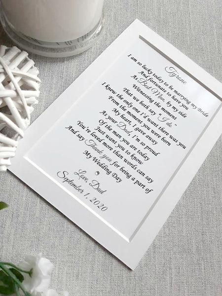 Wedding Day Gifts for Son of the Groom -  7x5 Personalised Wedding Poem Print