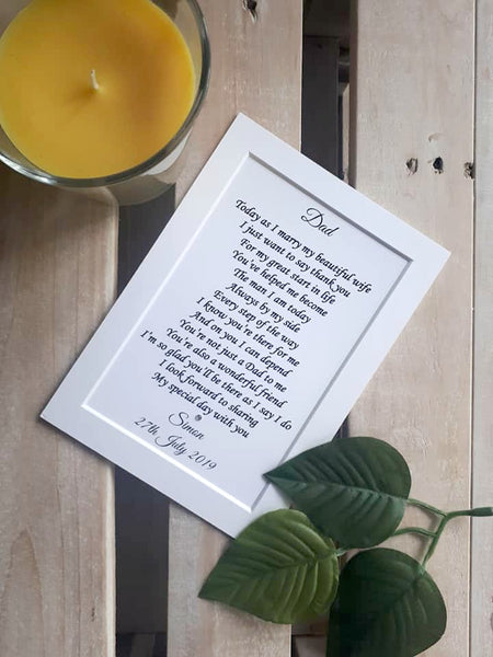 Father of the Groom wedding Gift from Son-  7x5 Personalised Wedding Poem Print