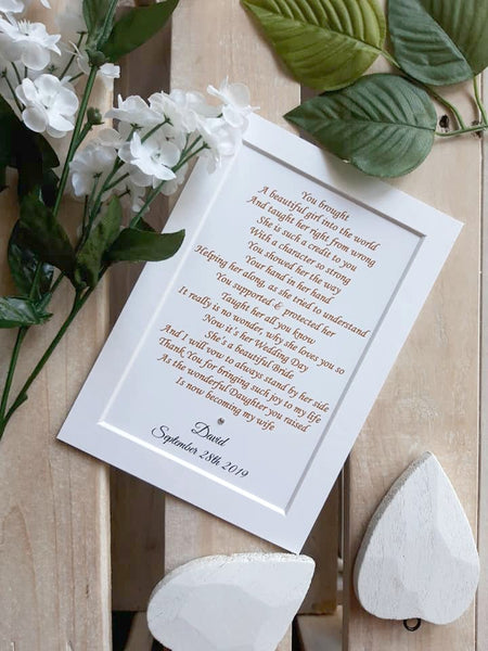 Wedding Day Gifts for Mother of the Bride from Groom -  7x5 Personalised Wedding Poem Print