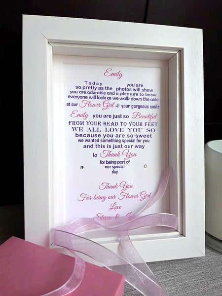 Wedding Day Gifts for Flower Girl -  7x5 Personalised Wedding Poem Print