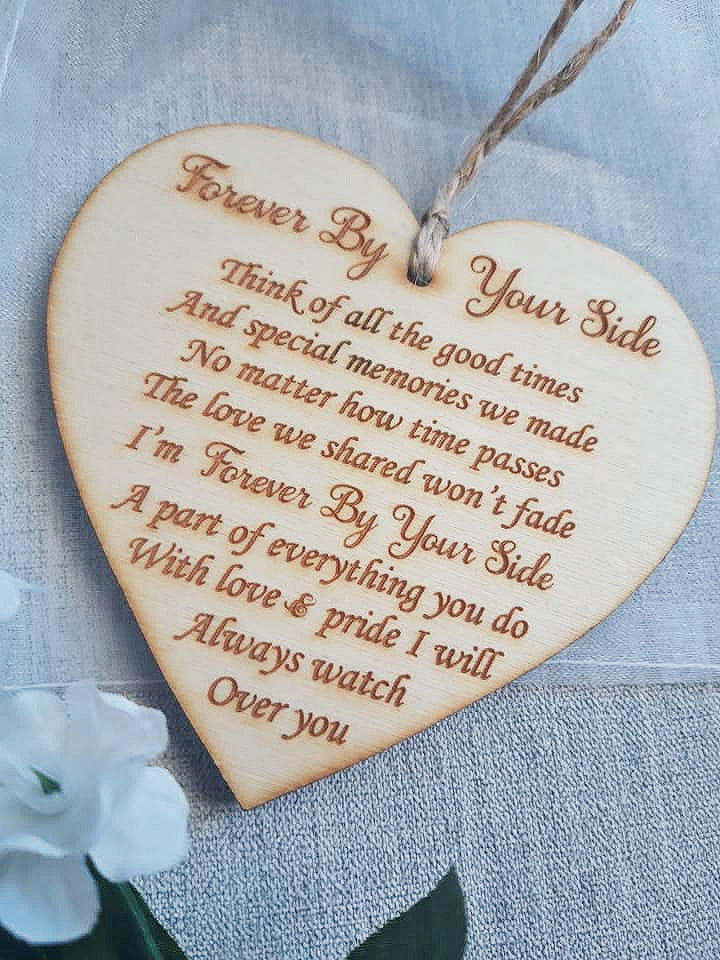 Wooden Heart - Sympathy Gift - Forever by your Side