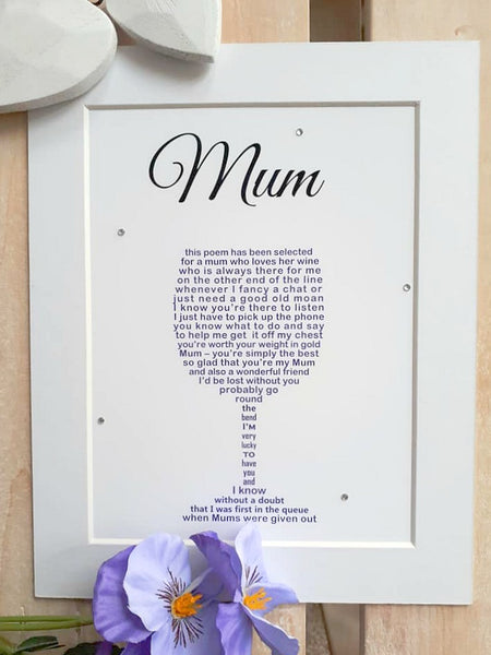 Mum Gift -  Personalised Wine Glass poem print for Mum on Mothers Day, Christmas or her Birthday