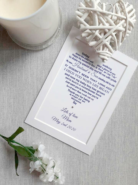 Son of the Bride Wedding Gift -  7x5 Personalised Wedding Poem Print