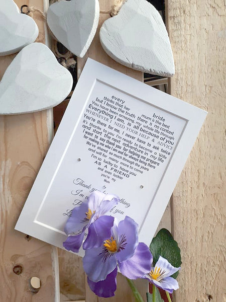 Mother of the bride gift from Daughter -   7x5 Personalised Wedding Poem Print