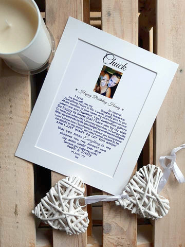 Husband / Wife Gift (photo) - for Anniversary, Christmas, Birthday or Valentine's Day