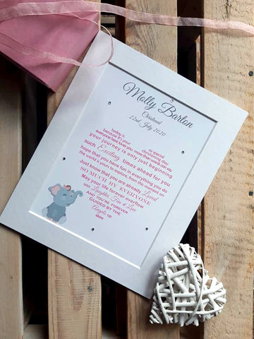 Christening Gift - Personalised Baptism Poem print Heart