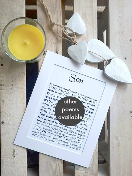 Son Gift -  personalised print