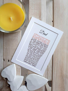 Dad Gift -   Pint of Beer Personalised Poem Print