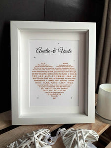 Auntie and Uncle Gift -  Aunt and Uncle personalised print