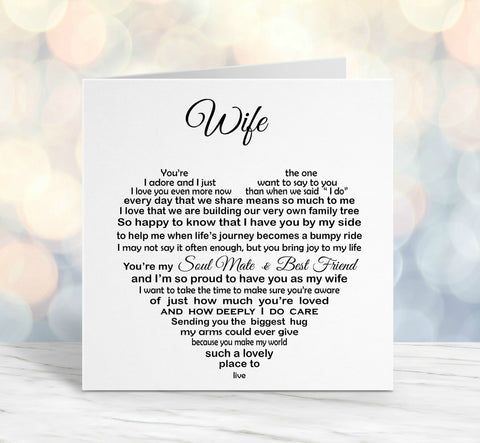 Wife Card - Birthday, Christmas Anniversary Card