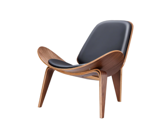Mid Century Shell Chair, Walnut, Palisander, and Black Leather