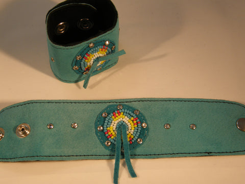 Aqua Suede Beaded Cuff with White, Yellow, Red and Aqua seed beads