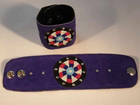 Indigo Suede Cuff with Red, White, Indigo and Aqua Beads and Crystals