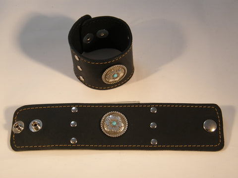 Black Leather with Turquoise and Silver Medallion and Silver Grommets