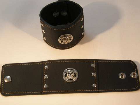 Black Leather with Silver Maltese Cross and Skull and Silver Grommets