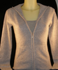 Cashmere zip up Hoody in Heather Grey