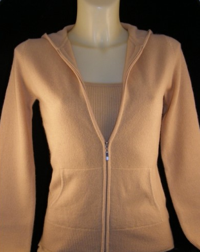 Cashmere zip up Hoody - Camel