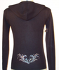 Black Cashmere zip up Hoody with Tattoo Swirl Crystal Design on Back