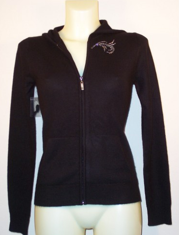 Black Cashmere zip up Hoody with Swirl Crystal Design on Front