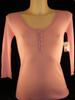 Cashmere Crystal Button 3/4 Sleeve Henley - Pink