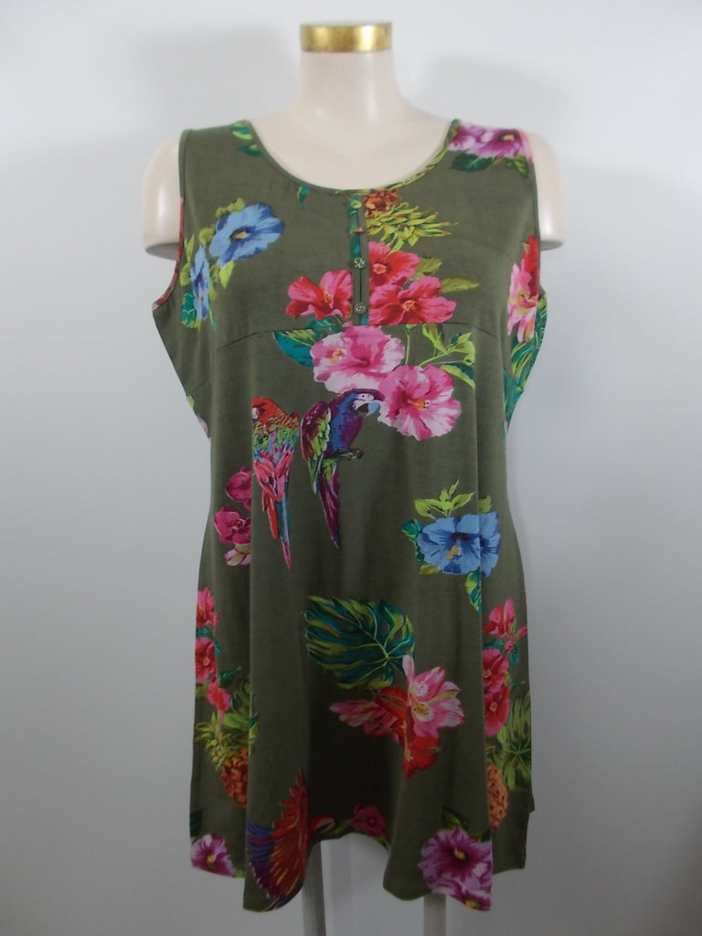 Parsley and Sage - Olive/Multi Wide Strap Sleeveless Maria Henley Dress - Linnea's Boutique & Vera's Threads