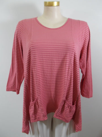 Nally & Millie - Teal/Pink Multi-color 3/4 Sleeve Aline Knit Tunic