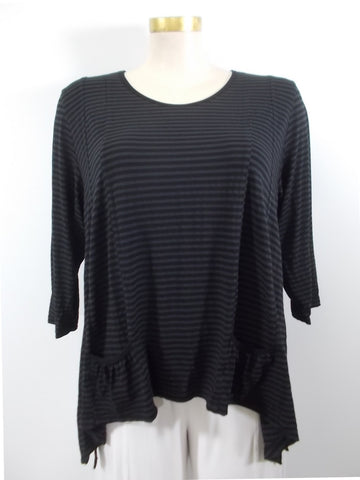 Heartstring - Black Stripe 3/4 Sleeve 2 Pocket Top - Linnea's Boutique & Vera's Threads