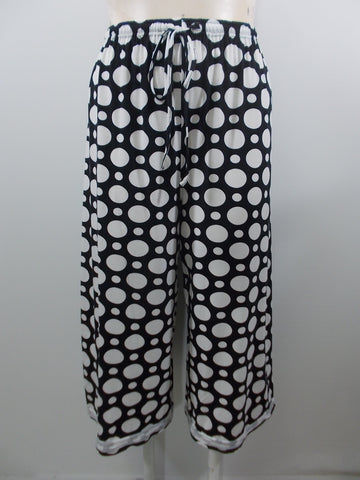 Cheyenne - Black/White Knit Drawstring Waistband Dot Wide Ankle Pant - Linnea's Boutique & Vera's Threads