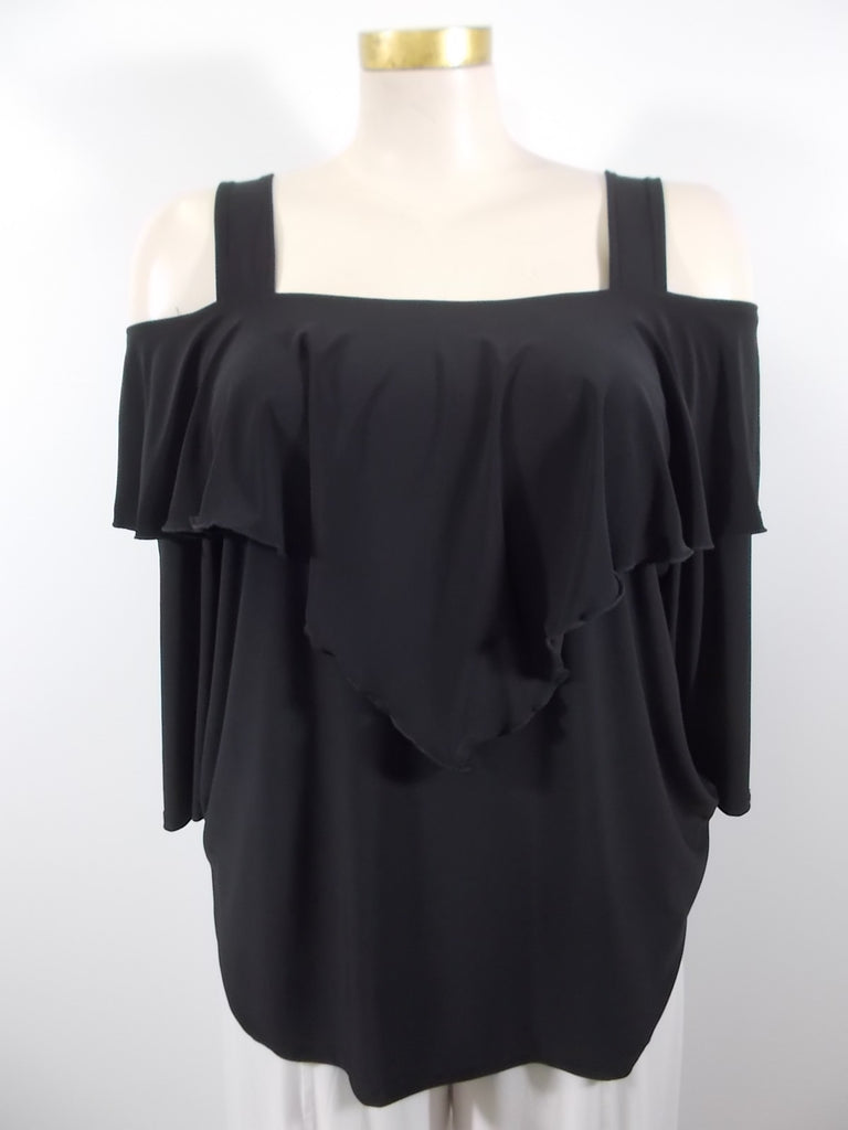 Fashque - Black Cold Shoulder V-Overlay Top