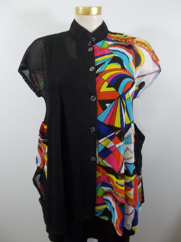 Damee - Pucci/Black Cap Sleeve Woven 2 Pocket Half & Half Vest - Linnea's Boutique & Vera's Threads