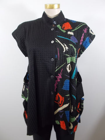 Damee - Wassily/Black Cap Sleeve Woven 2 Pocket Half & Half Vest - Linnea's Boutique & Vera's Threads