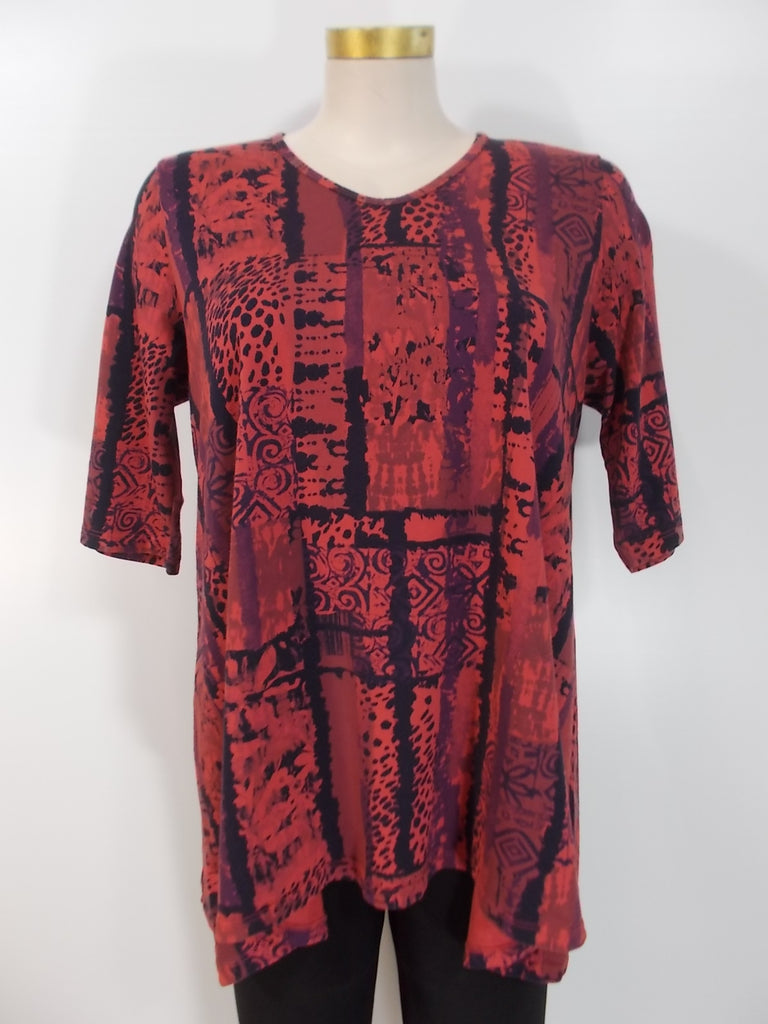 Prairie Cotton - Redwood/Multi 3/4 Sleeve V-Neck Relax Fit Whimsy Aline Tunic - Linnea's Boutique & Vera's Threads
