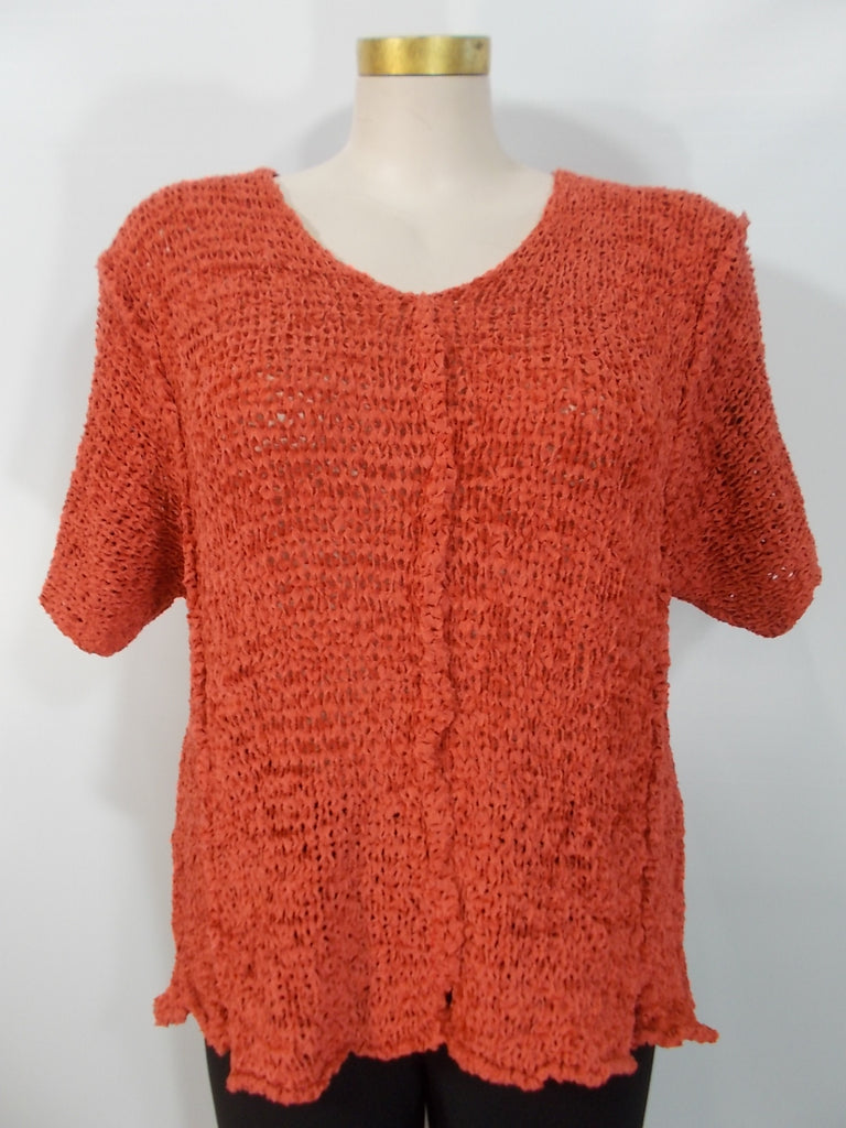 B&K Moda - Burnt Orange Short Sleeve V-Neck Fray Yarn Aline Vest - Linnea's Boutique & Vera's Threads