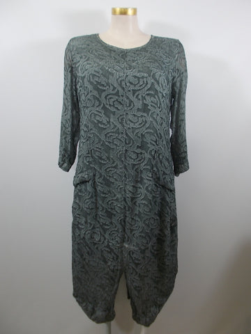 Grizas - Sea Green 3/4 Sleeve Silk Textured Lined 2 Pocket Long Dress