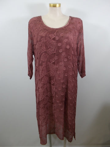 Grizas - Maroon 3/4 Sleeve Silk Textured Linen Dress - Linnea's Boutique & Vera's Threads