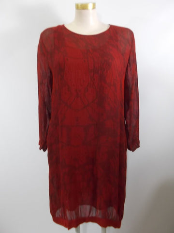 Grizas - Red/Merlot Long Sleeve Floral Mesh Lined 2 Pocket Banded Hem Dress - Linnea's Boutique & Vera's Threads