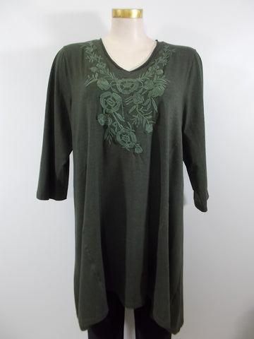 Caite - Olive Night 3/4 Sleeve V-Neck Xena Embroidered Raw Edge Aline Tunic/Dress - Linnea's Boutique & Vera's Threads