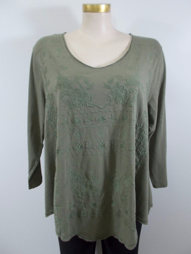 Caite - Vintage Sage 3/4 Sleeve V-Neck Kristi Embroidered Raw Edge Scalloped Hem Top - Linnea's Boutique & Vera's Threads