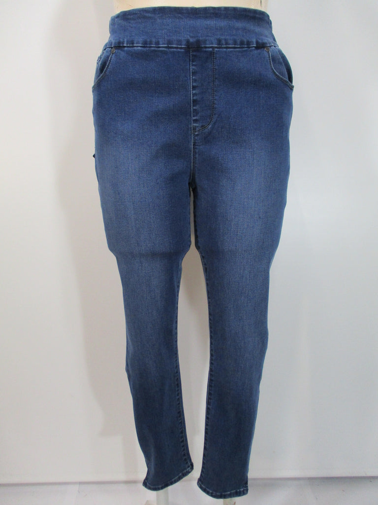 Lola Jeans - Medium Blue High Rise Pull On Skinny 5 Pocket Ankle Pant - Linnea's Boutique & Vera's Threads
