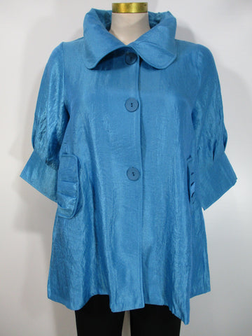 Damee - Sky Blue Big Collar 2 Pocket 3 Button Swing Jacket - Linnea's Boutique & Vera's Threads