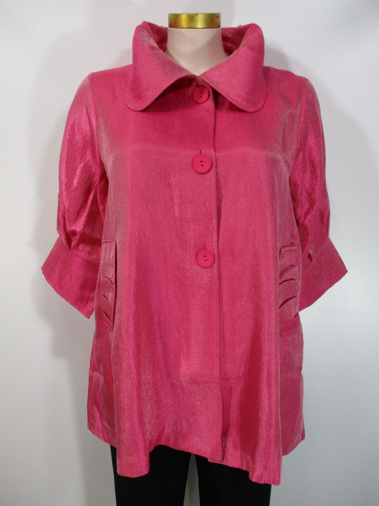 Damee - Fuchsia Big Collar 2 Pocket 3 Button Swing Jacket - Linnea's Boutique & Vera's Threads