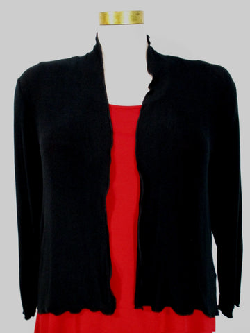 Fenini - Black Fine Knit Long Sleeve Scalloped Open Cardigan - Linnea's Boutique & Vera's Threads