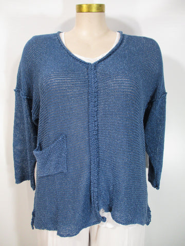 B&K Moda - Indigo Lase Long Sleeve Drop Shoulder V-Neck 1 Pocket Asym Sweater - Linnea's Boutique & Vera's Threads