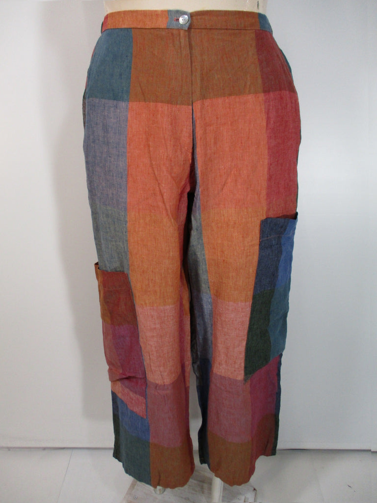 Alembika - Madris Linen Zip Up Check 2 Pocket/2 Big Pocket Wide Leg Pant - Linnea's Boutique & Vera's Threads