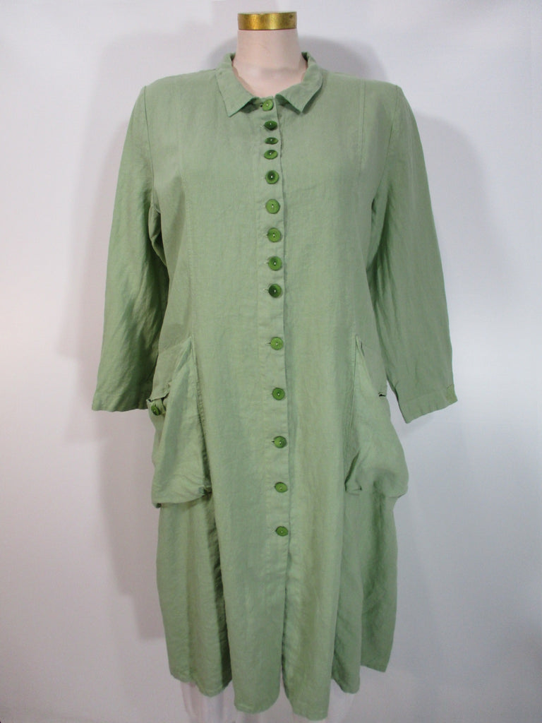 Grizas - Mint Linen Long Sleeve 2 Pocket Duster w/Belted Back - Linnea's Boutique & Vera's Threads