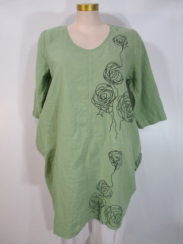 Grizas - Mint/Black Linen 3/4 Sleeve V-Neck Print 2 Pocket Knee Length Dress - Linnea's Boutique & Vera's Threads