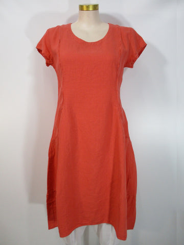 Grizas - New Orange Linen Cap Sleeve Seamed 2 Pocket Mid Calf Dress - Linnea's Boutique & Vera's Threads